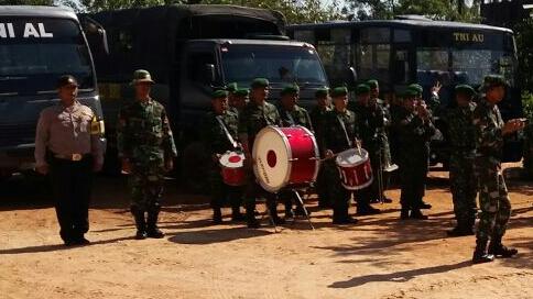 Personel Bhabinkamtibmas Polresta Banjarmasin Ikuti Upacara Pembukaan TMMD ke 100 Kodim 1007/Banjarmasin