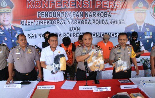 Konperensi Pers kapolda Kalsel Ungkap kasus penyeludupan 5,3 KG Sabu-sabu di Polresta Banjarmasin