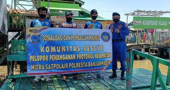 Operasi Yustisi, Polresta Banjarmasin Gandeng Komunitas Rescue Gelar Edukasi dan Bagikan Masker