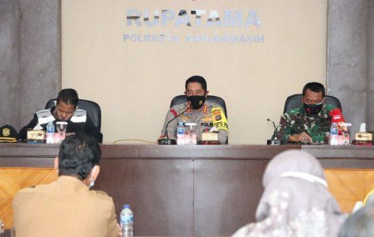 Polresta Banjarmasin Gelar Rapat Evaluasi Pelaksanaan Penegakan Perwali 68