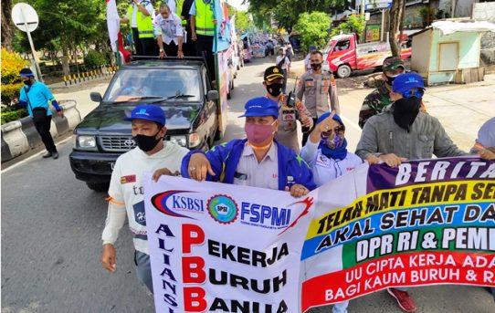 Aksi Buruh Berjalan Kondusif, Kapolresta Banjarmasin Berikan Apresiasi