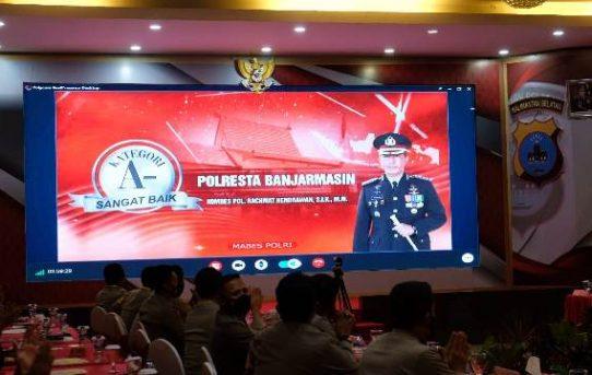 Polresta Banjarmasin Sabet Penghargaan Penyelenggara Pelayanan Publik Kategori Sangat Baik Tahun 2020 dari Kemenpan-RB