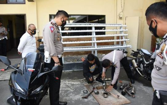 Terjaring Dan Kena Tilang, Ambil Motor Pemilik Wajib Ganti Knalpot Brong Dengan Standar Pabrikan
