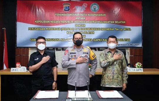 Polda Kalsel Jalin Kerjasama Dengan PT. Telkom Indonesia dan GAPKI dalam Penanganan Karhutla 2021