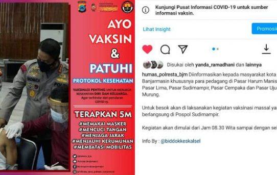 Humas Polresta Banjarmasin Sosialisasi Gebyar Vaksinasi Covid-19