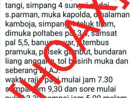 Beredar Pesan Jadwal Razia Di Banjarmasin, Kasat Lantas: Itu Hoax