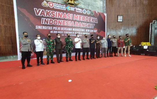 Vaksinasi Merdeka Indonesia Bangkit Di Banjarmasin, Sinergitas Polri Bersama Mahasiswa, BEM dan OKP Vaksin Ribuan Jiwa