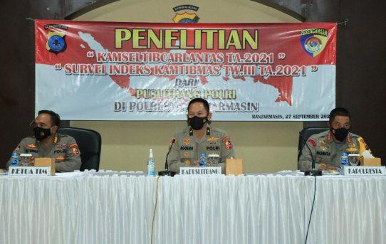 Tim Puslitbang Polri Gelar Penelitian Dan Supervisi Di Polresta Banjarmasin, Ini Yang Dilakukan